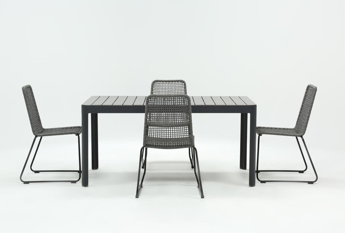 Inspiration about Most Recently Released Outdoor Andaz Dining Table With 4 Pilo Grey Side Chairs (#1 of 20)