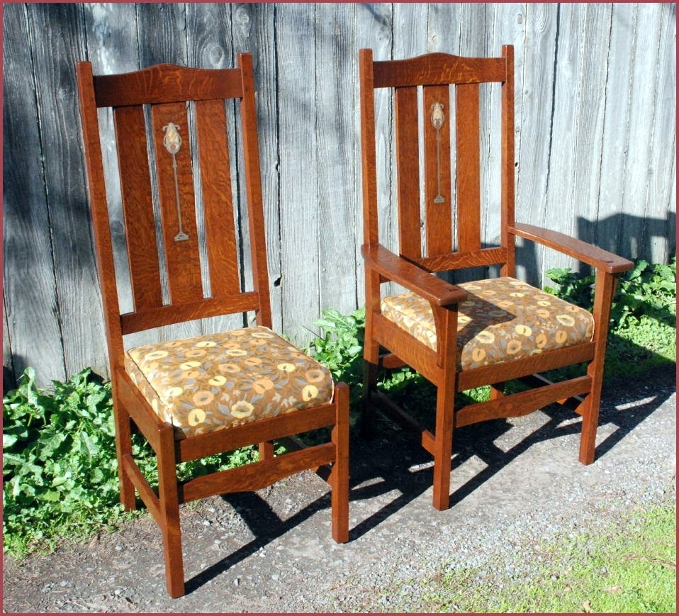Inspiration about Most Recently Released Voorhees Craftsman Mission Oak Furniture – Gustav Stickley Harvey Within Craftsman Upholstered Side Chairs (#10 of 20)