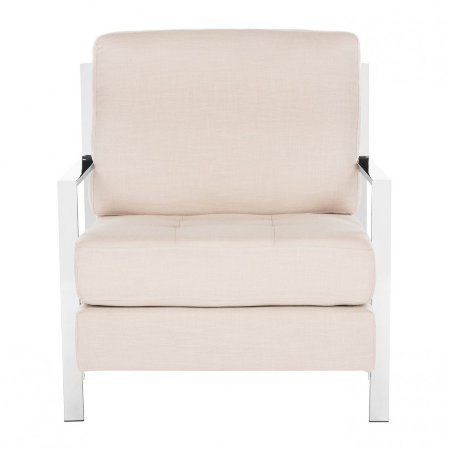 Most Recently Released Walden Upholstered Arm Chairs Pertaining To Decor Market – Walden Modern Tufted Linen Chrome Accent Chair (#7 of 20)