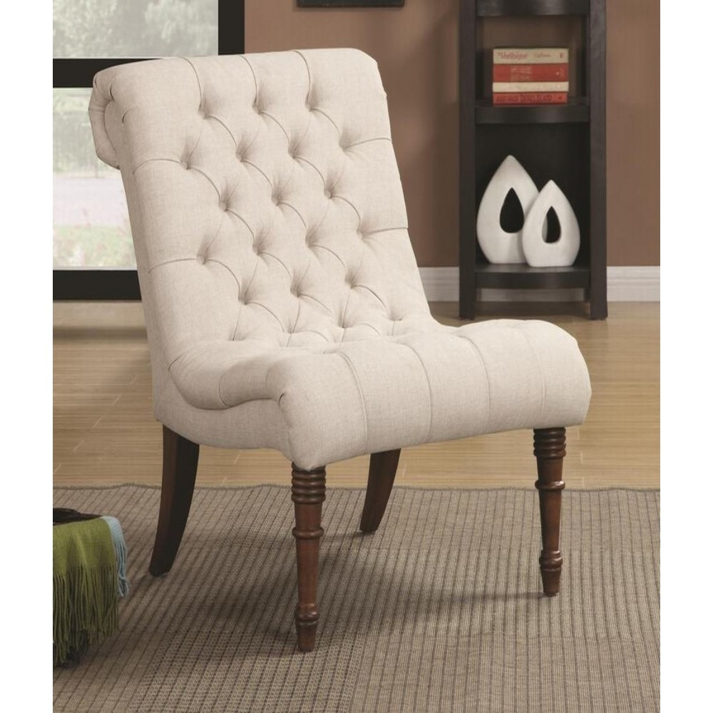 Most Up To Date Armless Oatmeal Dining Chairs Within Accent Seating Curved Accent Chair (#12 of 20)