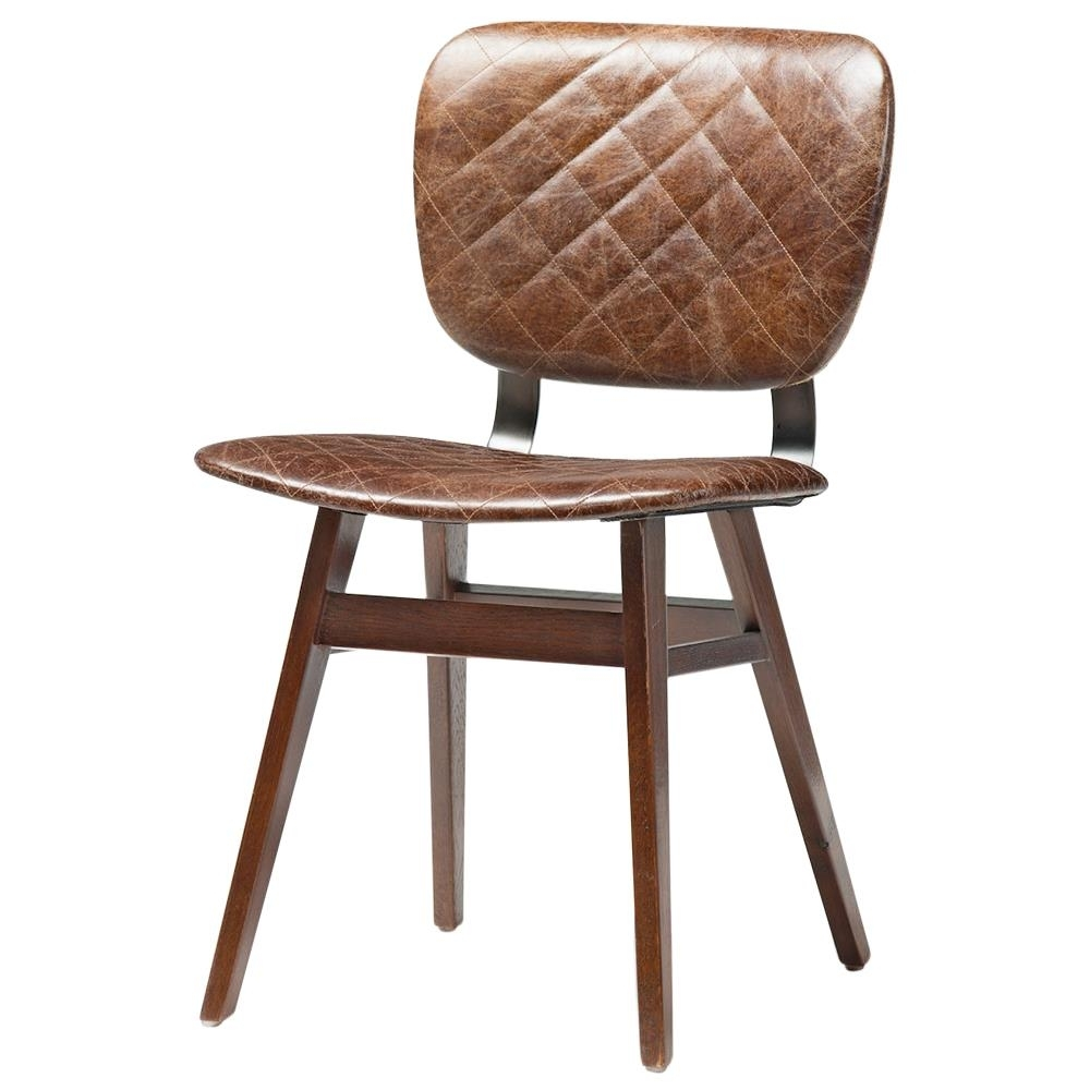 Inspiration about Most Up To Date Drifter Industrial Loft Brown Leather Quilt Oak Dining Chair – Pair Pertaining To Quilted Brown Dining Chairs (#3 of 20)