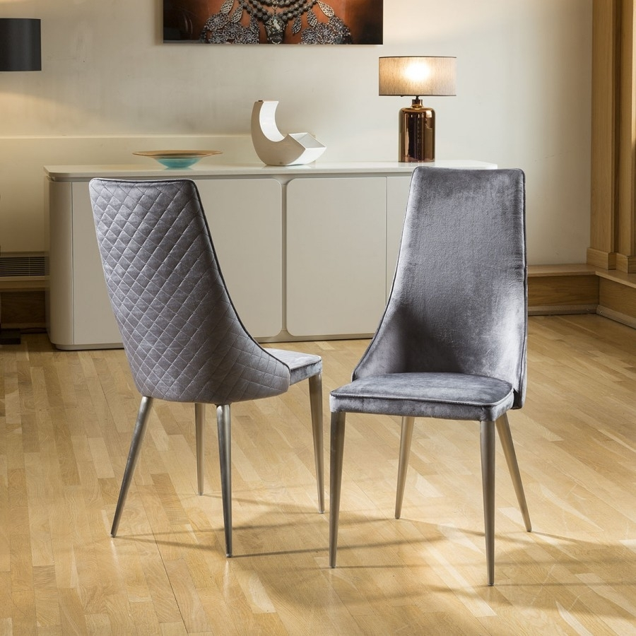 Most Up To Date Set Of 2 Sleek Velvet High Back Modern Dining Chairs Grey Fabric With Regard To Grey Dining Chairs (#11 of 20)