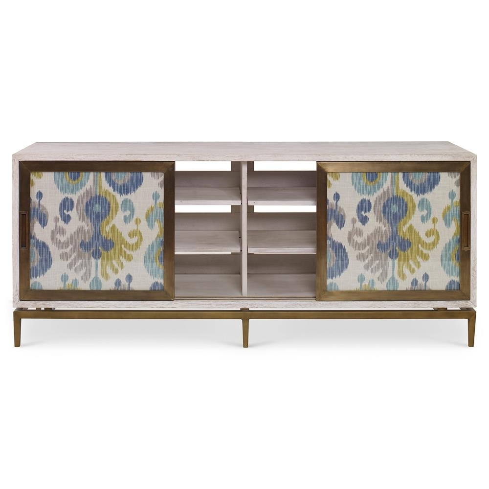 Inspiration about Mr. Brown Muse Global Modern Blue Ikat White Wash Cabinet | Kathy With Newest Corrugated White Wash Sideboards (#12 of 20)