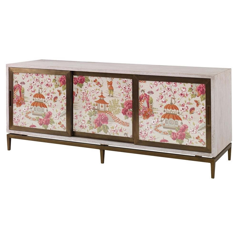 Inspiration about Mr. Brown Muse Modern Classic Rose Chinoiserie White Wash Cabinet Pertaining To 2018 Corrugated White Wash Sideboards (#6 of 20)