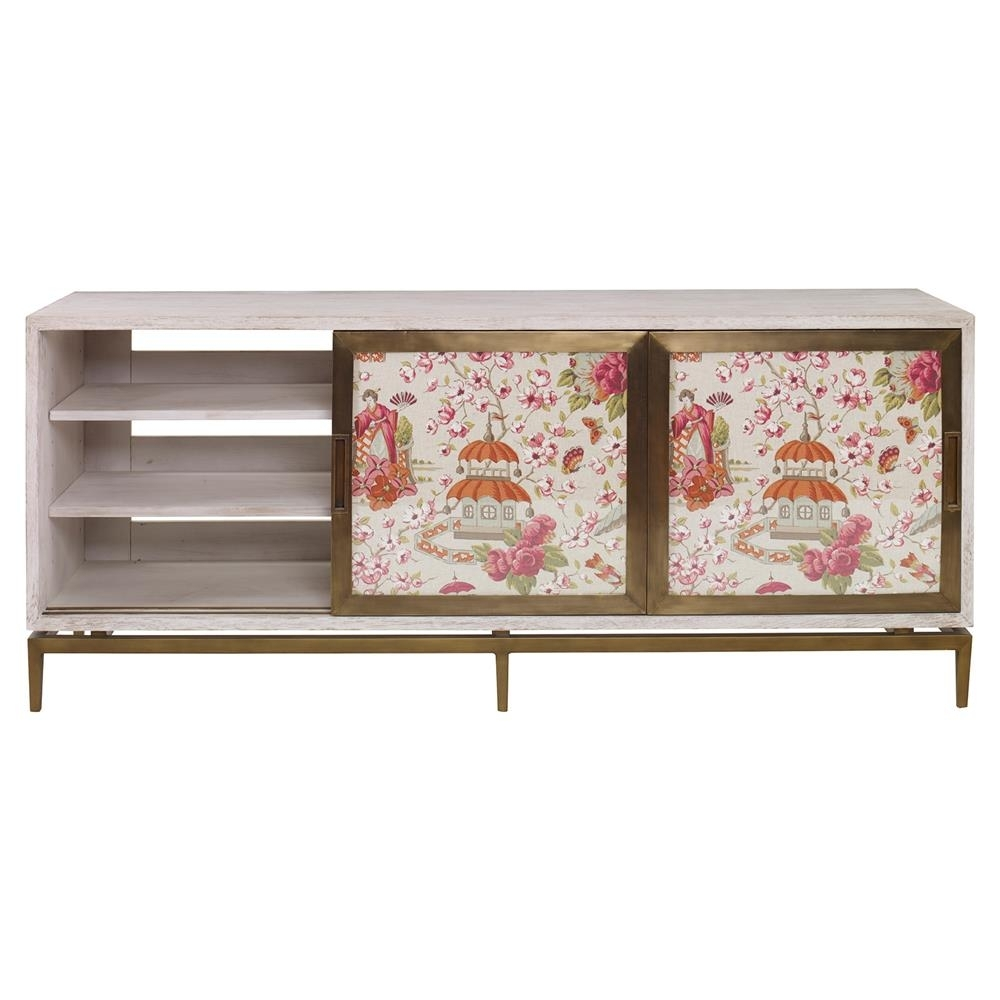 Inspiration about Mr. Brown Muse Modern Classic Rose Chinoiserie White Wash Cabinet Regarding Best And Newest Corrugated White Wash Sideboards (#14 of 20)