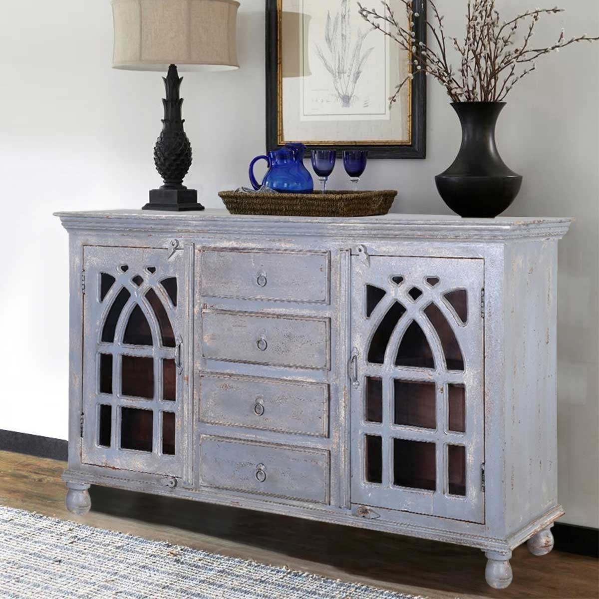 Mughal Rustic Mango Wood Glass Door 4 Drawer Large Sideboard Cabinet With Regard To Best And Newest Mango Wood Grey 4 Drawer 4 Door Sideboards (View 10 of 20)
