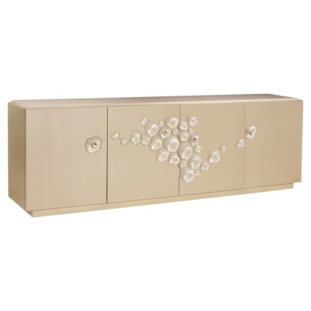 Natalie Modern Classic White Stone Gold Leaf 4 Door Sideboard Throughout Newest Metal Refinement 4 Door Sideboards (View 20 of 20)