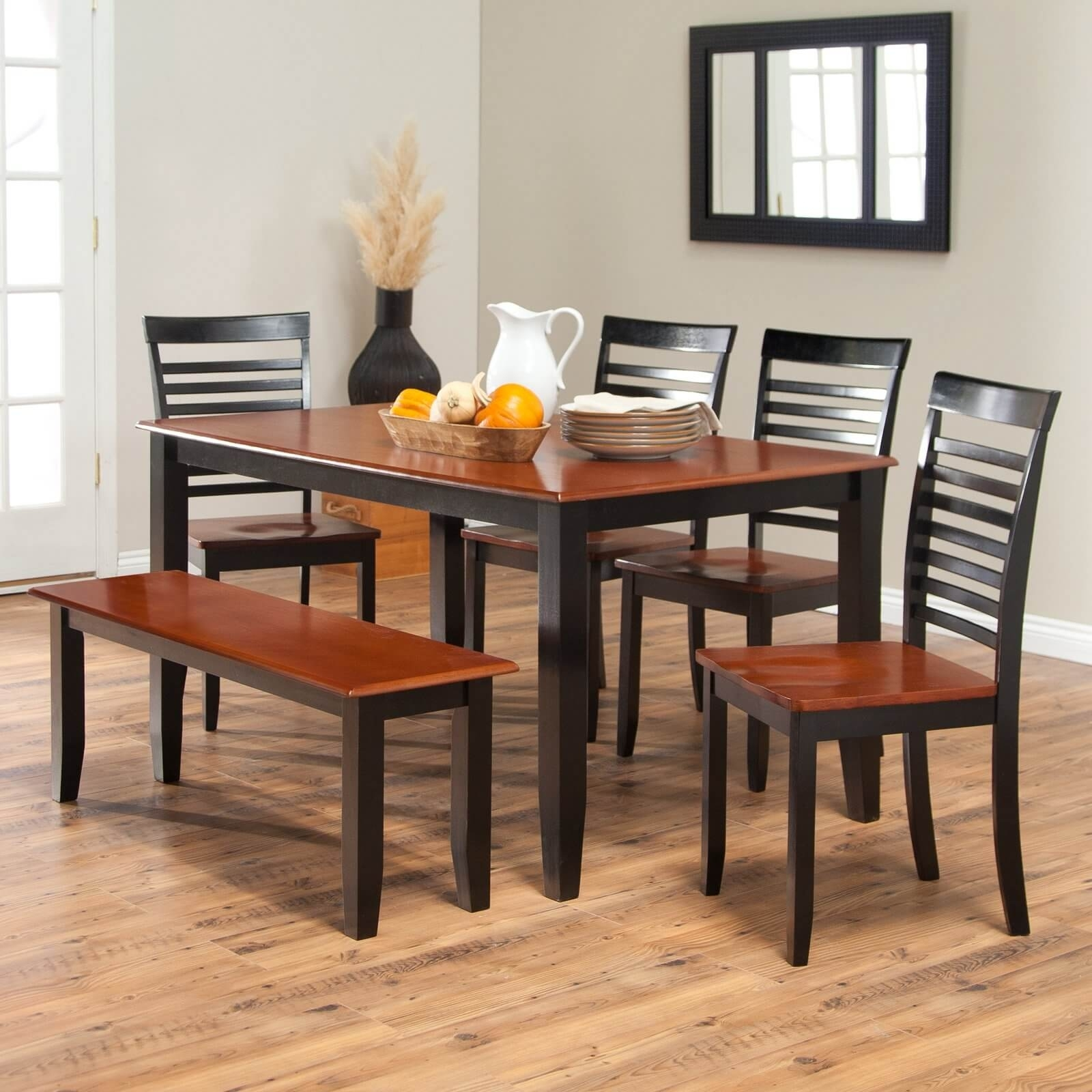 Popular Photo of Natural Brown Teak Wood Leather Dining Chairs
