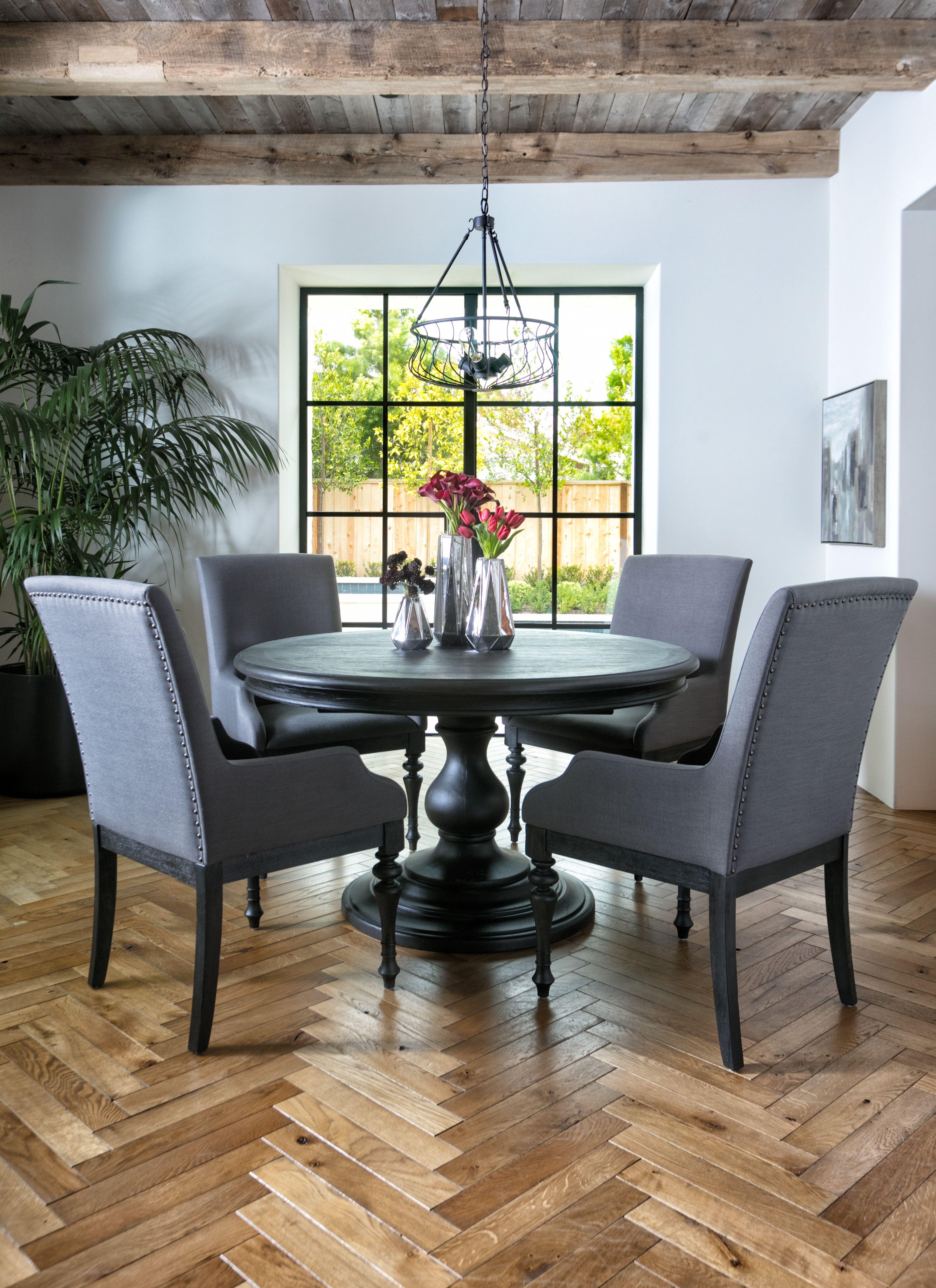 Newest Caira Black 5 Piece Round Dining Set With Diamond Back Side Chairs Throughout Caira Black Upholstered Arm Chairs (#13 of 20)
