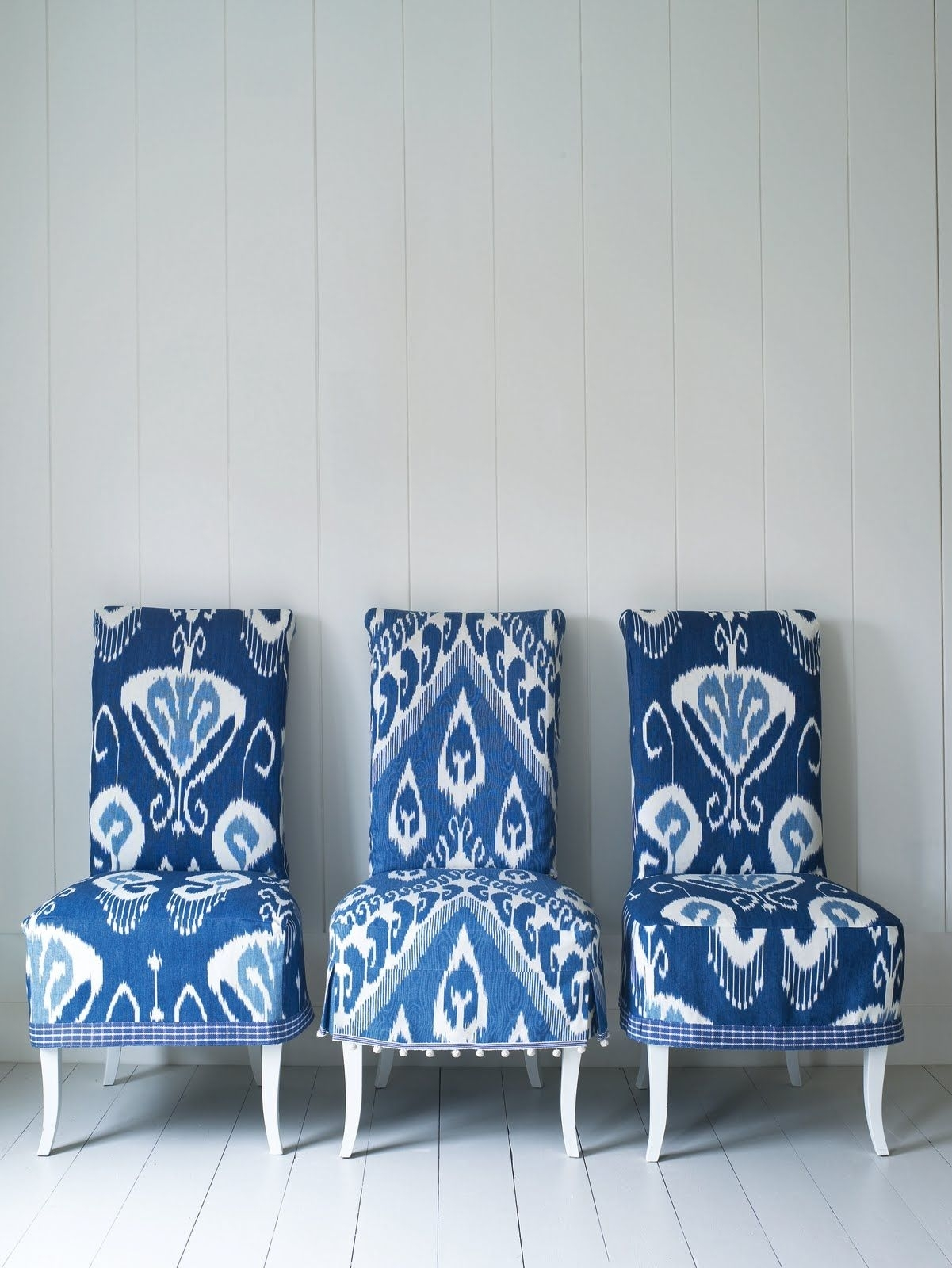 Newest Dining Chairs With Blue Loose Seat Within Blue And White Ikat Chairs, Via Interiors Nut (View 14 of 20)
