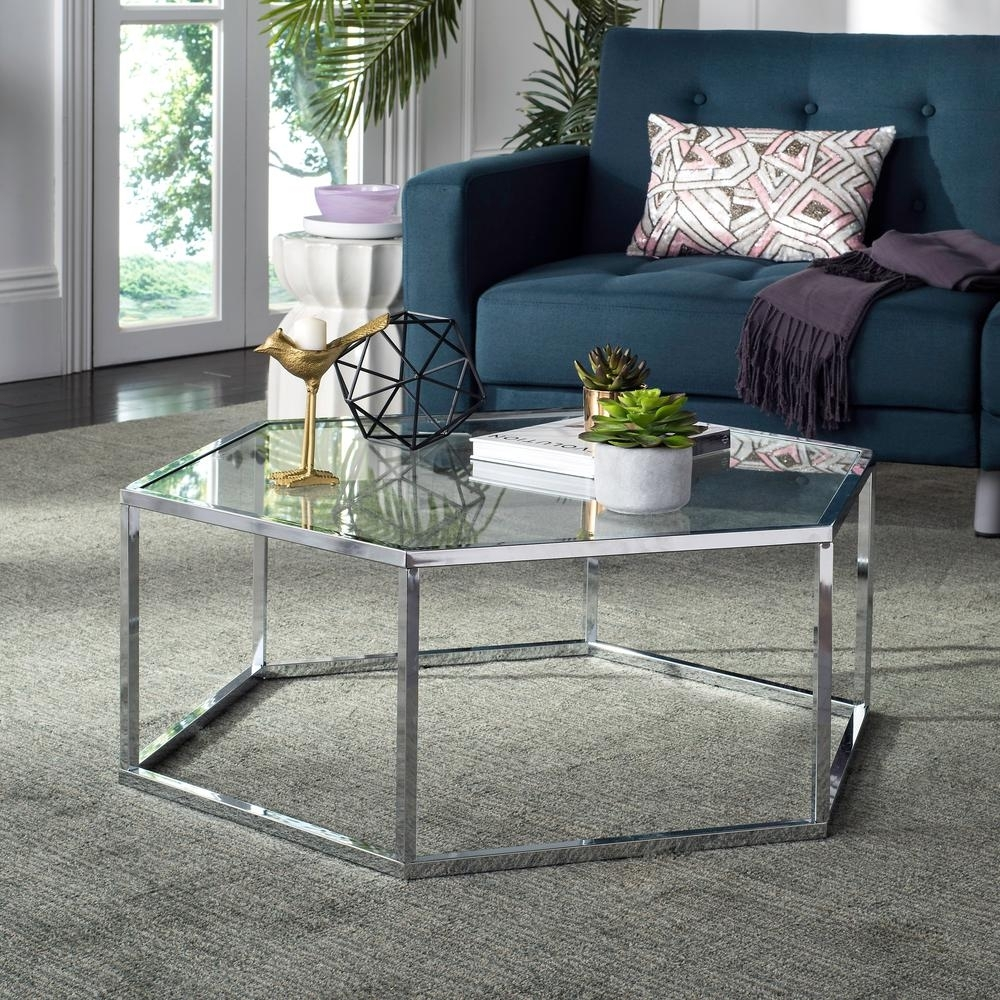 Newest Garten Onyx Chairs With Greywash Finish Set Of 2 In Safavieh Eliana Glass/chrome Coffee Table Mmt6003A – The Home Depot (#14 of 20)