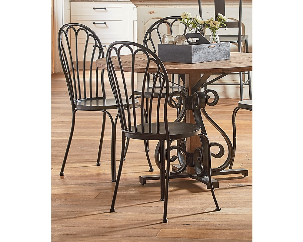 Popular Photo of Magnolia Home Peacock Blackened Bronze Metal Side Chairs