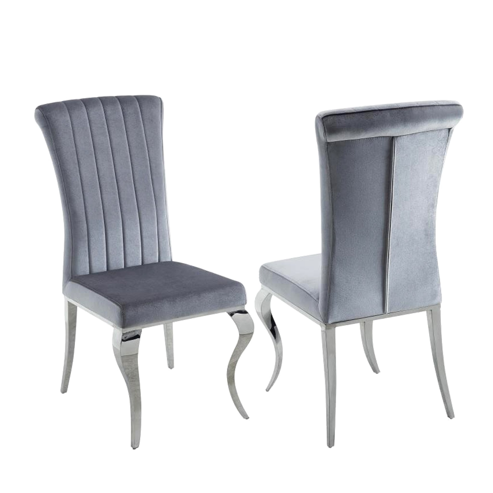 Newest Pilo Grey Side Chairs Inside Shop Cabriole Design Stainless Steel With Grey /silver Velvet Dining (#6 of 20)