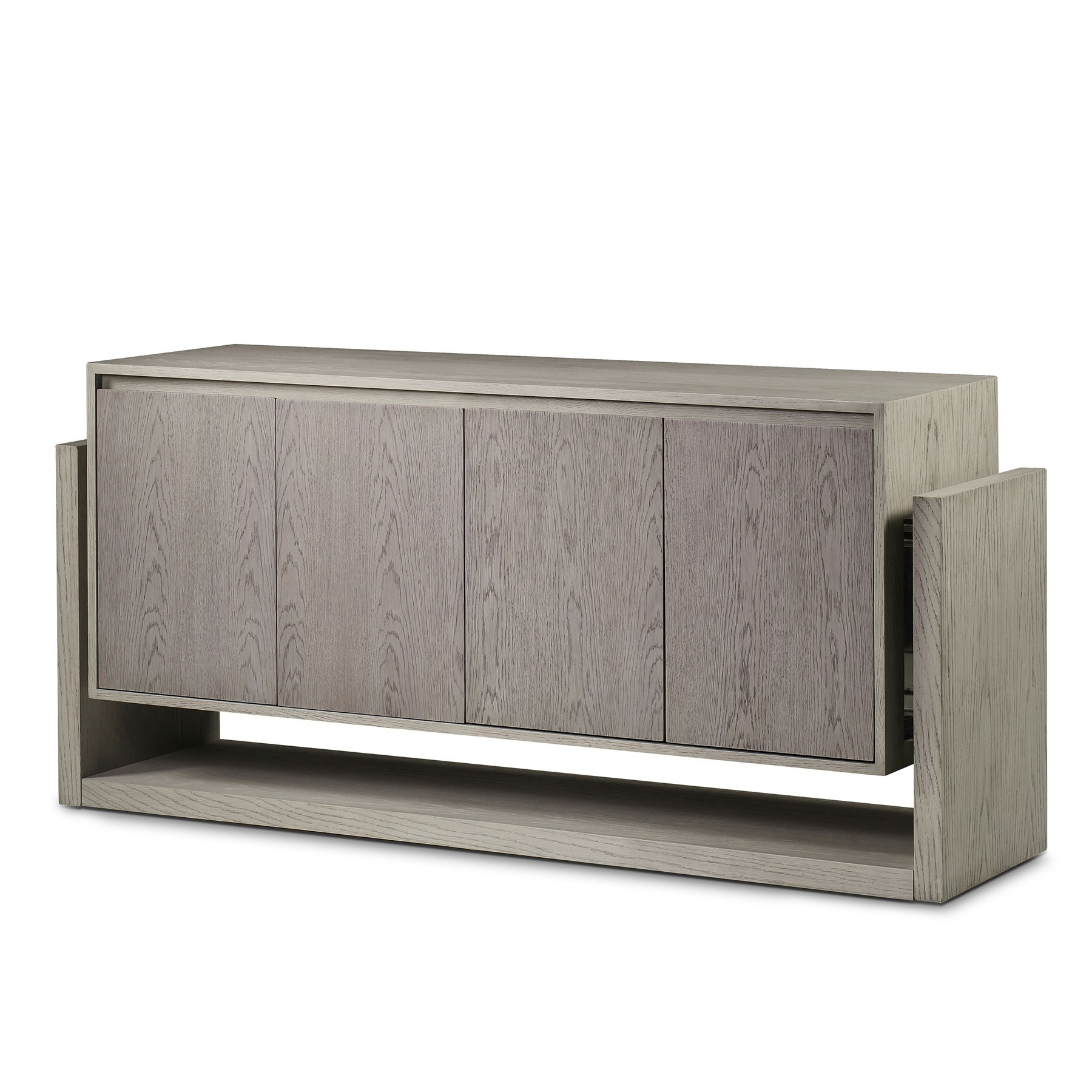 Newman 4 Door Sideboard – Whitewashed   Resource Decor 1404025 With Regard To Newest White Wash 4 Door Sideboards (View 12 of 20)