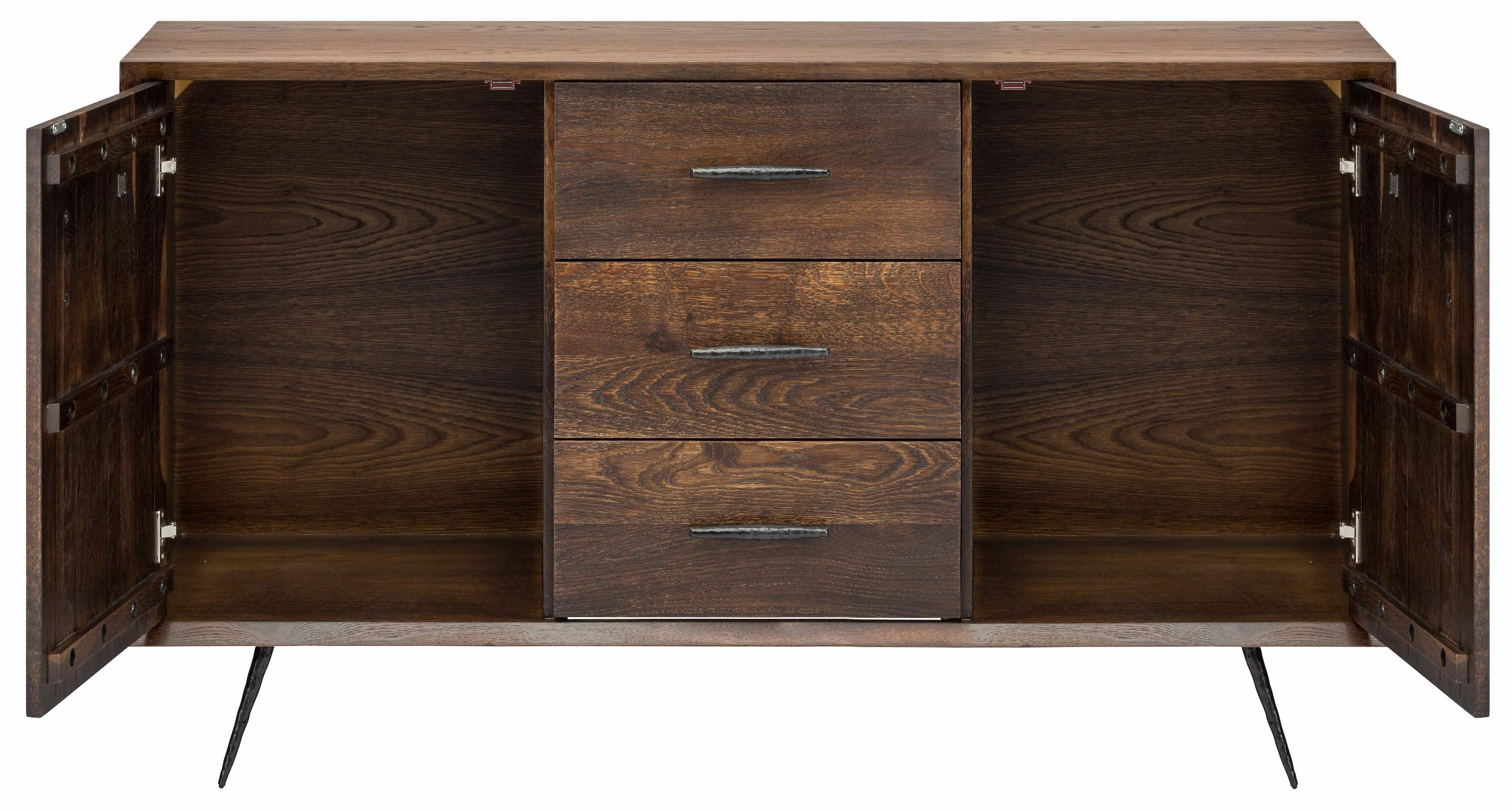 Nexa Sideboard Cabinet In Seared Oak And Black Cast Iron Legs Pertaining To Best And Newest Black Oak Wood And Wrought Iron Sideboards (View 20 of 20)