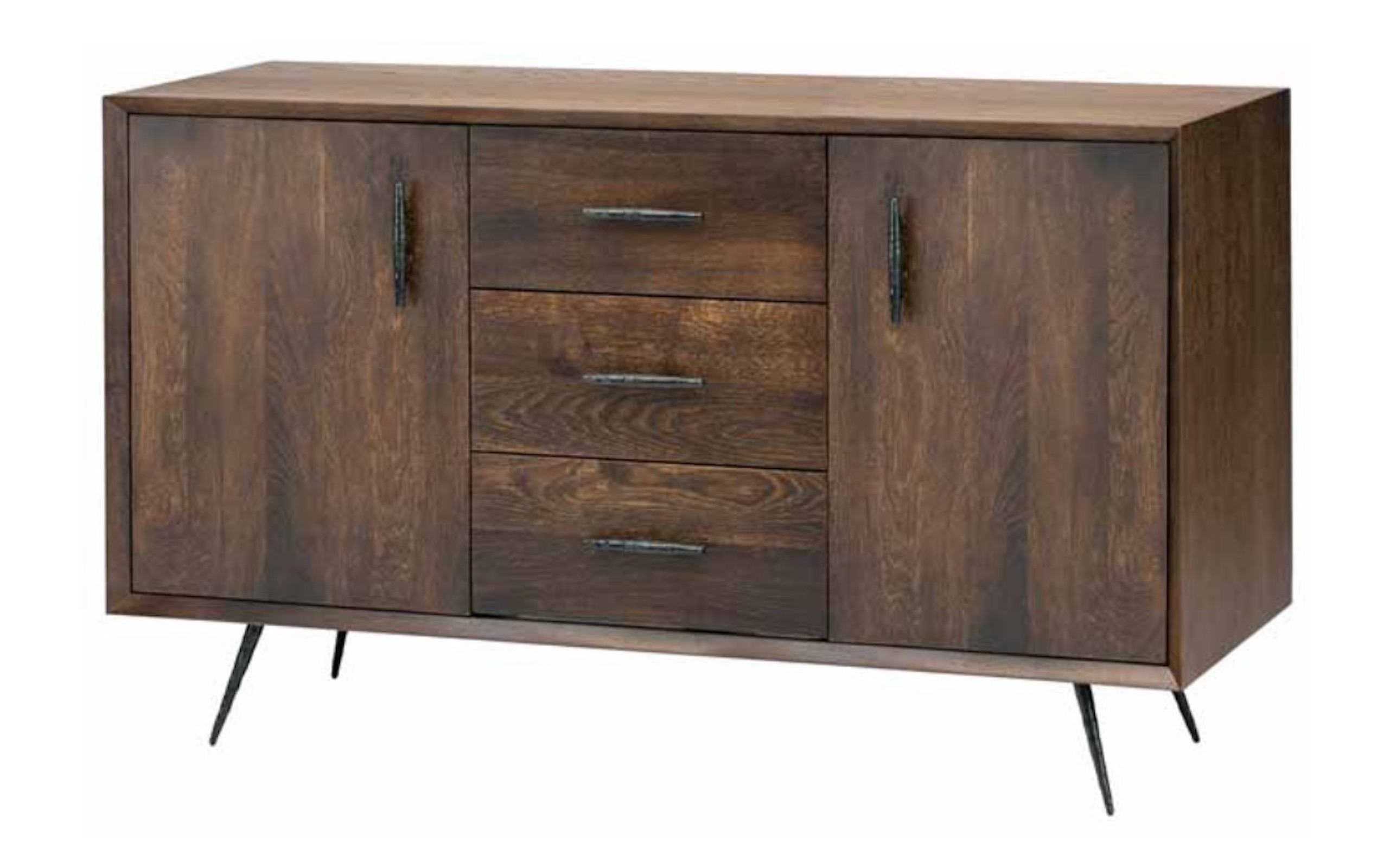 Nexa Sideboard Cabinet In Seared Oak And Black Cast Iron Legs Regarding Best And Newest Black Oak Wood And Wrought Iron Sideboards (#14 of 20)