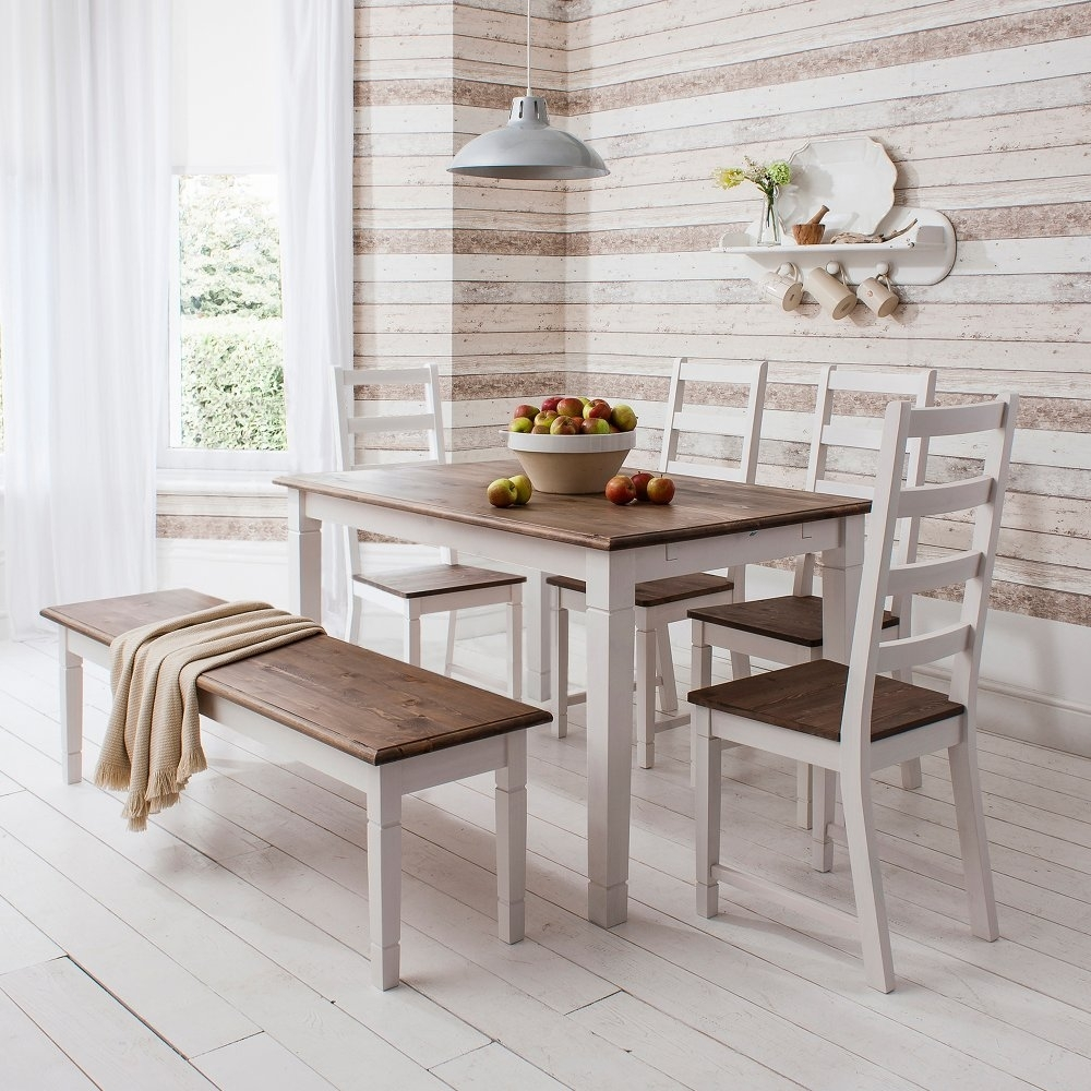 Popular Photo of Pine Wood White Dining Chairs
