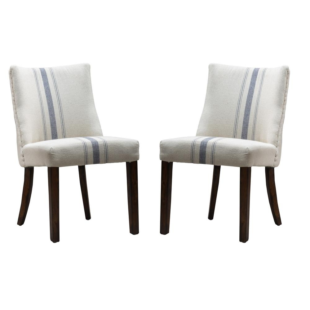 Noble House Harman Blue Stripe On Beige Linen Dining Chair (set Of 2 Regarding Best And Newest Blue Stripe Dining Chairs (View 10 of 20)