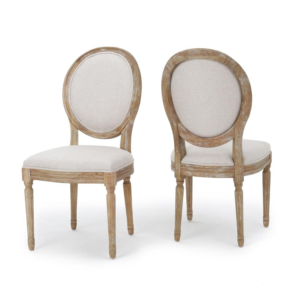 Noble House Phinnaeus Beige Fabric Dining Chairs (Set Of 2) 300258 For Best And Newest Hayden Ii Black Side Chairs (#14 of 20)