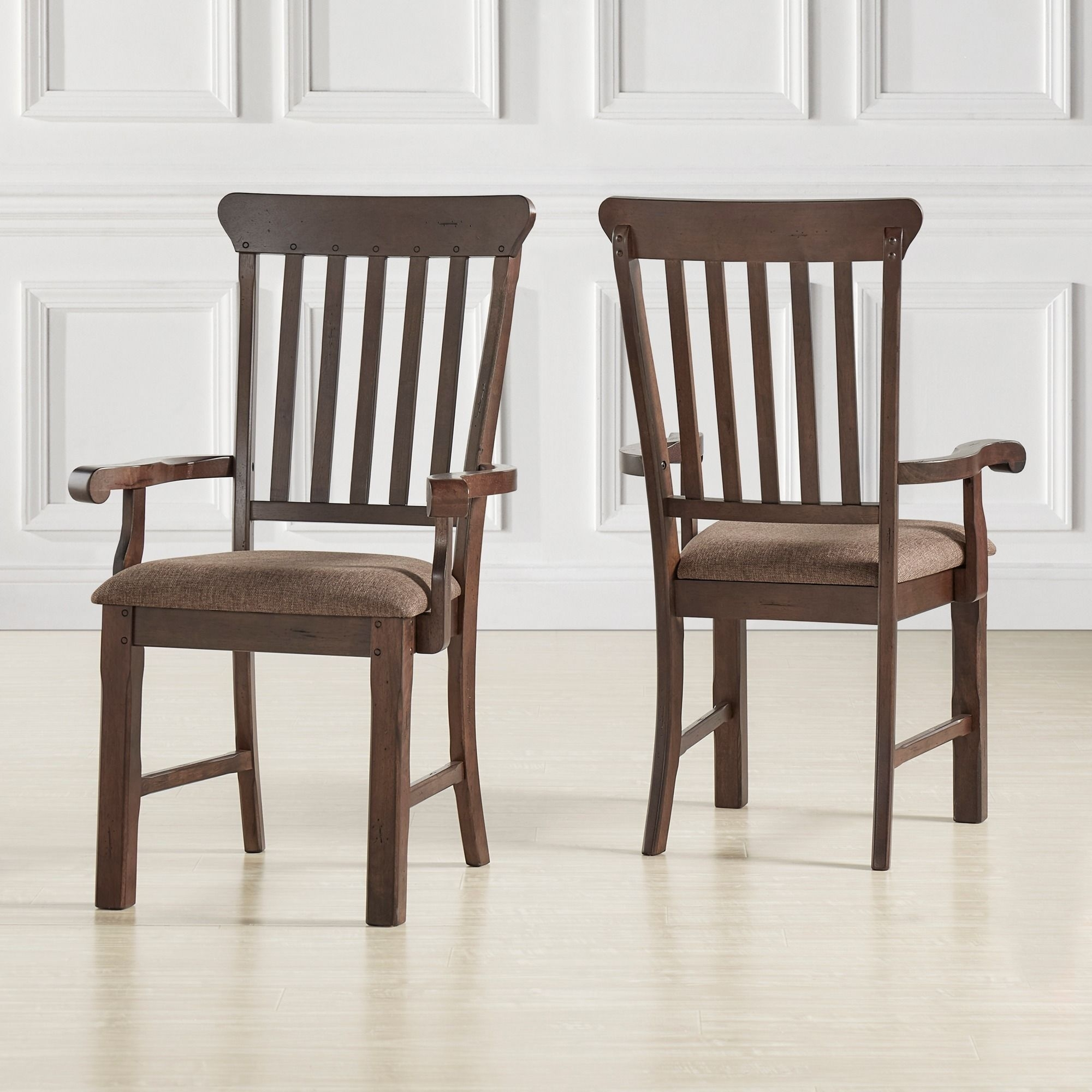 Norwood Upholstered Side Chairs For Preferred Norwood Rustic Dining Arm Chair (Set Of 2) (Arm Chair), Brown (#9 of 20)