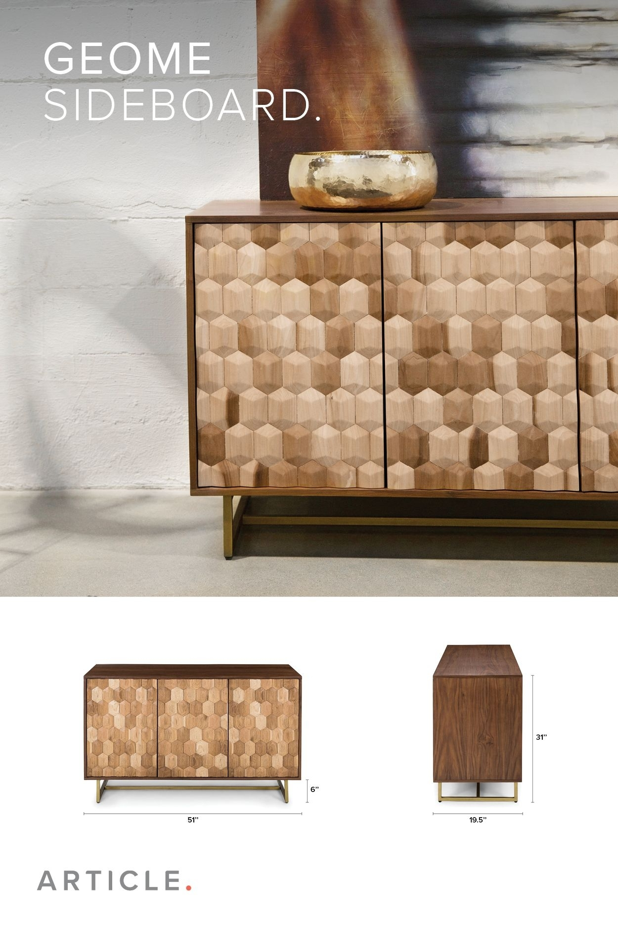 Oak And Walnut Sideboard, Brass Legs | Article Geome Modern Throughout Latest Light Brown Reclaimed Elm & Pine 84 Inch Sideboards (View 17 of 20)
