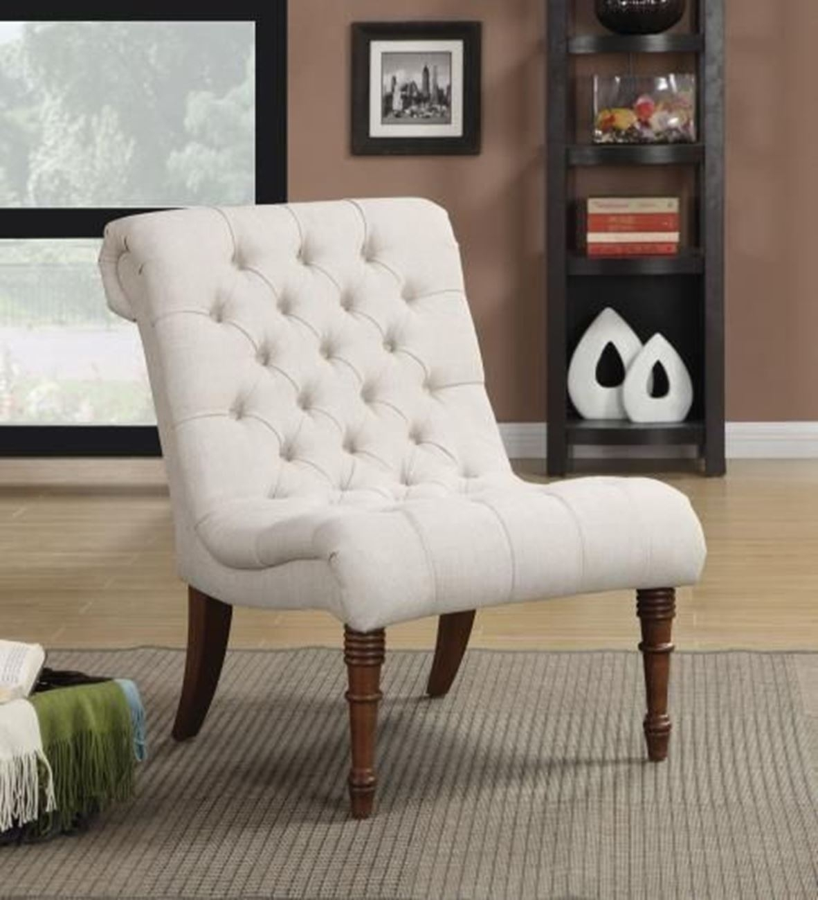 Oatmeal Tufted Armless Chair – Woodstock Furniture & Mattress Throughout Fashionable Armless Oatmeal Dining Chairs (#14 of 20)