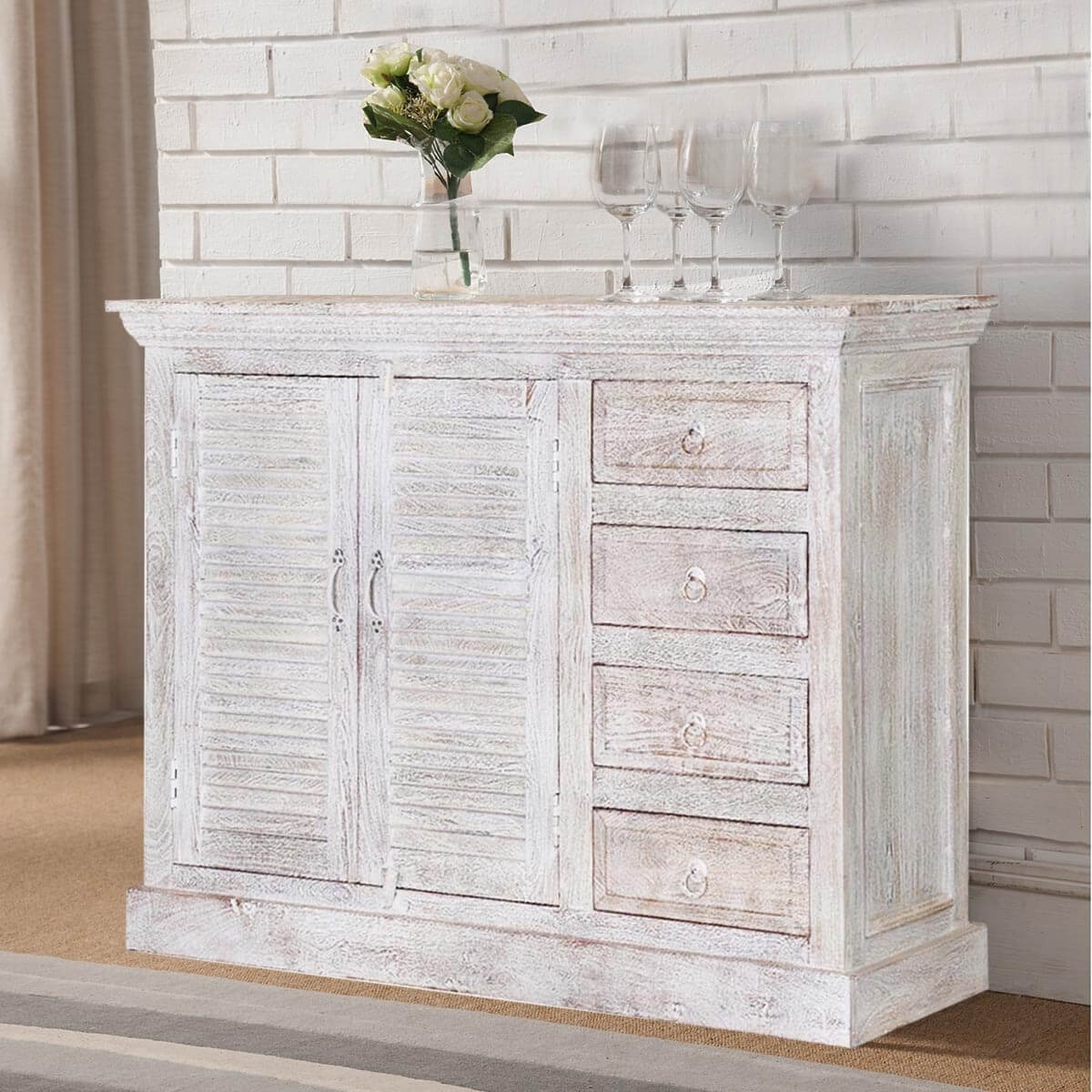 Ohio Rustic White Weathered Finish 2 Door 4 Drawer Sideboard Intended For Latest Vintage Finish 4 Door Sideboards (View 8 of 20)