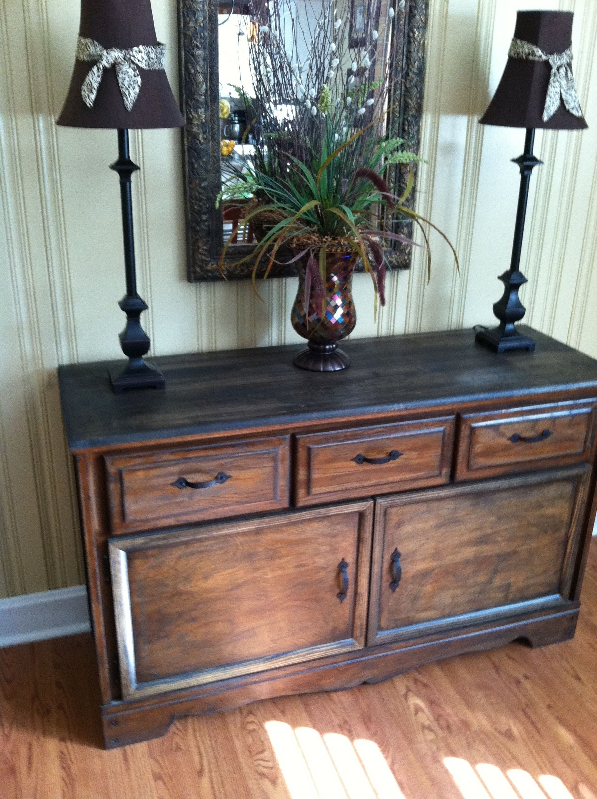 Old Refurbished Dresser Turned Buffet Table $35 Goodwill Find Pertaining To Most Up To Date Cass 2 Door Sideboards (View 19 of 20)