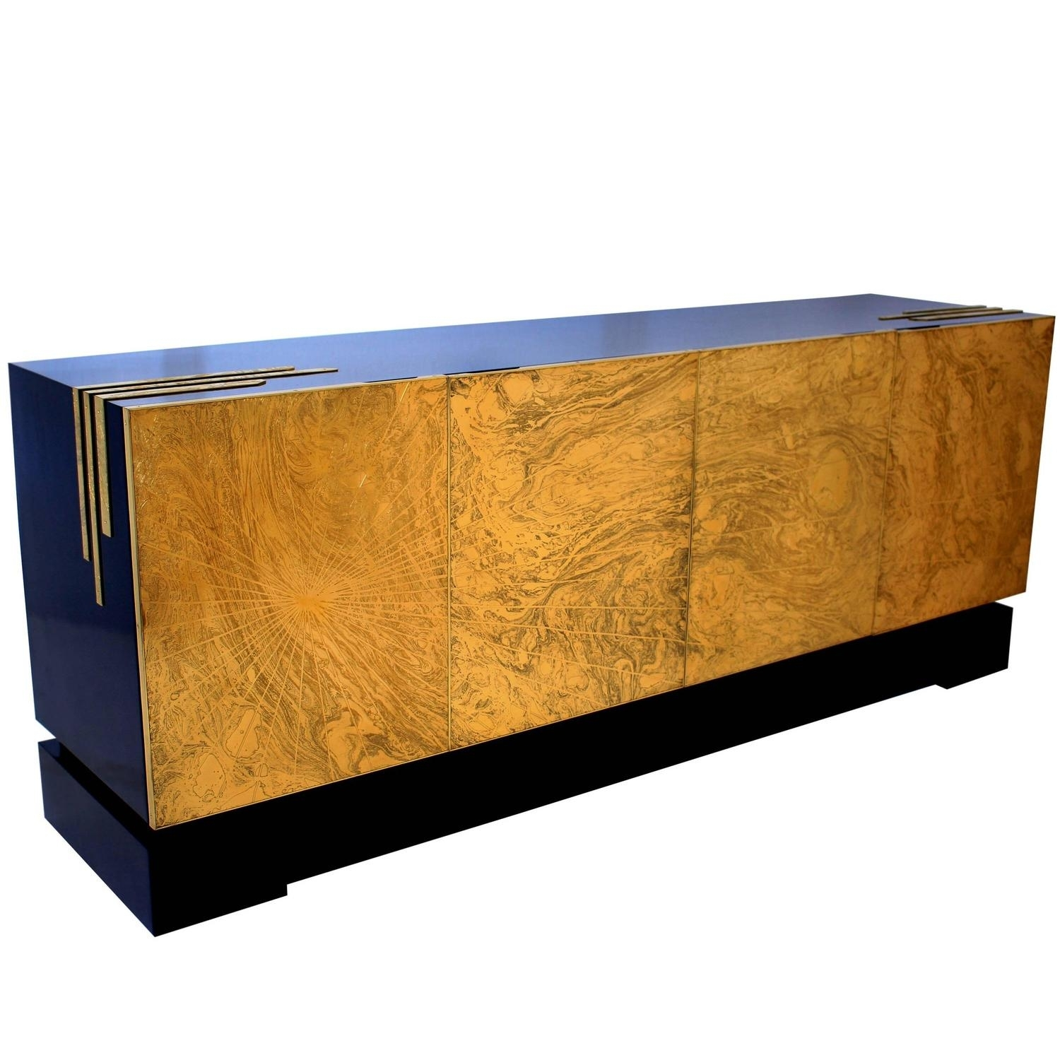 One Of A Kind Four Door Acid Etched Brass Sideboard Designfelix For Best And Newest Square Brass 4 Door Sideboards (#15 of 20)