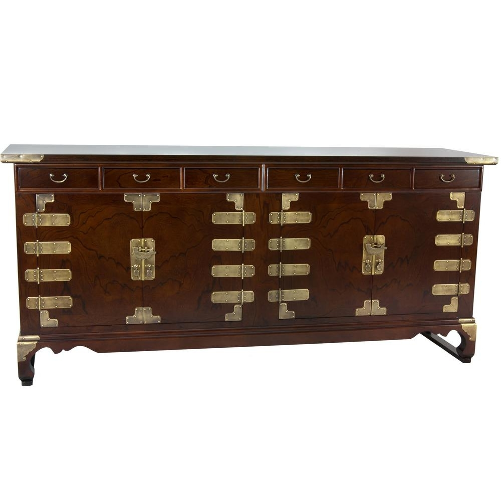 Oriental Furniture Walnut Korean Antique Style Double Cabinet Buffet Intended For Most Recently Released Antique Walnut Finish 2 Door/4 Drawer Sideboards (#17 of 20)