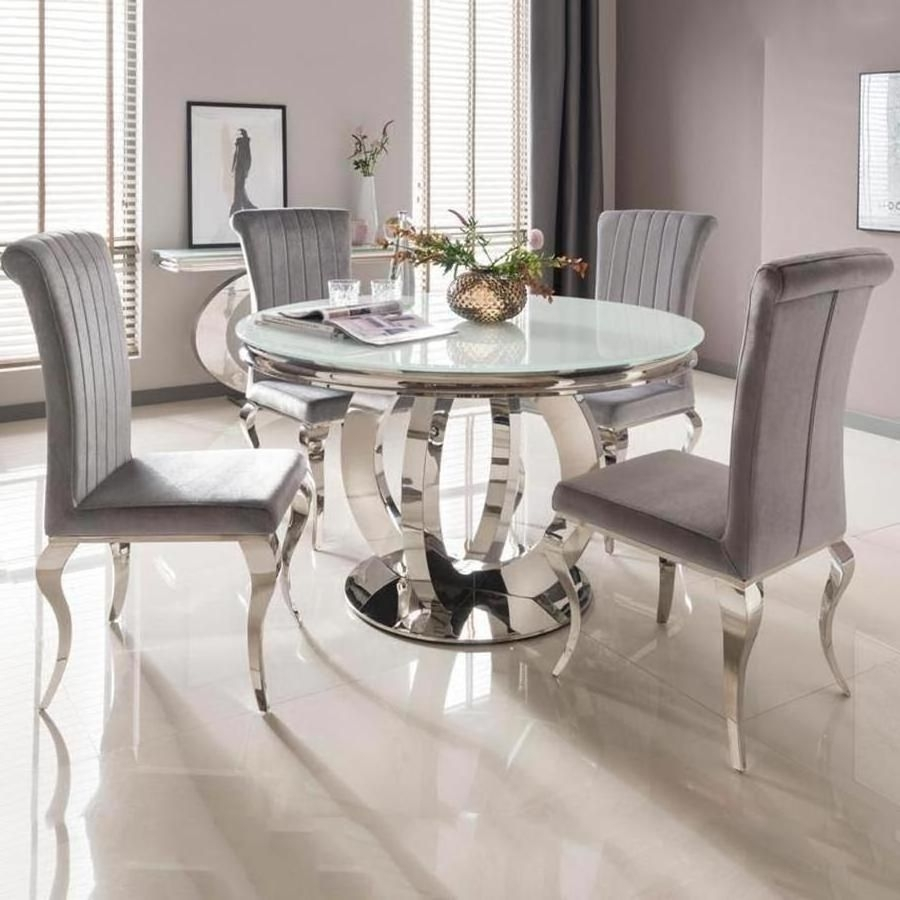Orion Side Chairs In Well Known Vida Living Orion White Round Dining Table And 4 Silver Nicole Chairs (#11 of 20)