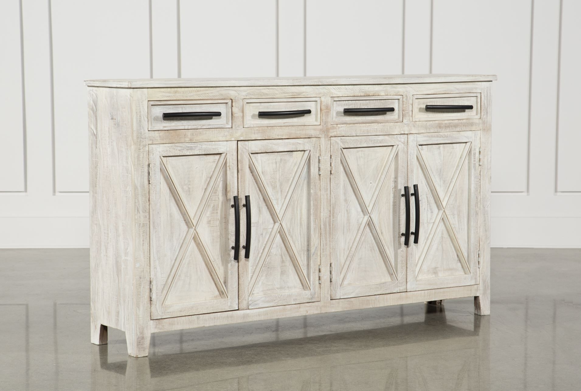Otb White Wash 4door3drawer Glass Sideboard Home Intended For Most Current Neeja 3 Door Sideboards (View 18 of 20)