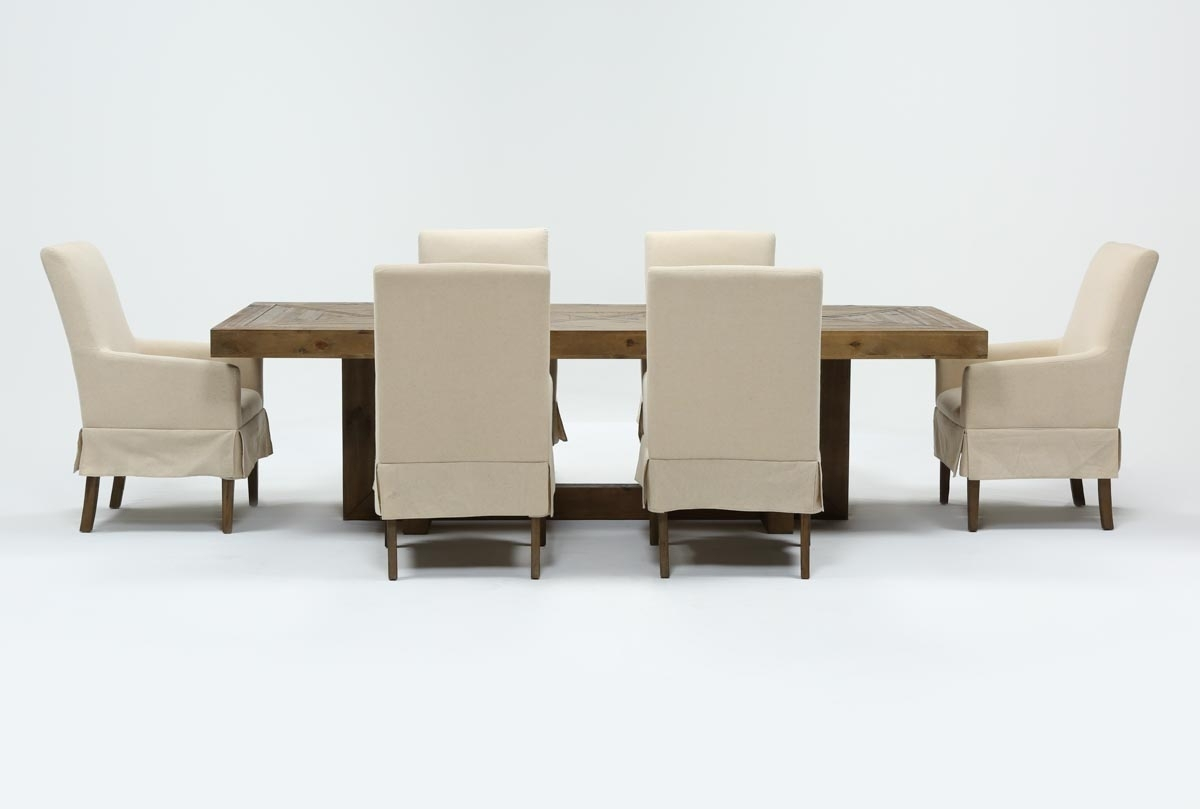 Palazzo 7 Piece Dining Set With Mindy Slipcovered Side Chairs With Regard To 2018 Palazzo 87 Inch Sideboards (#13 of 20)