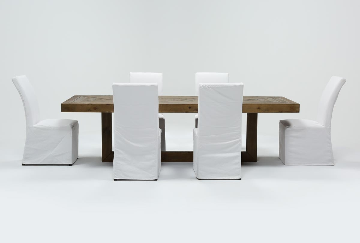 Inspiration about Palazzo 7 Piece Dining Set With Pearson White Side Chairs | Living With Most Popular Palazzo 87 Inch Sideboards (#6 of 20)