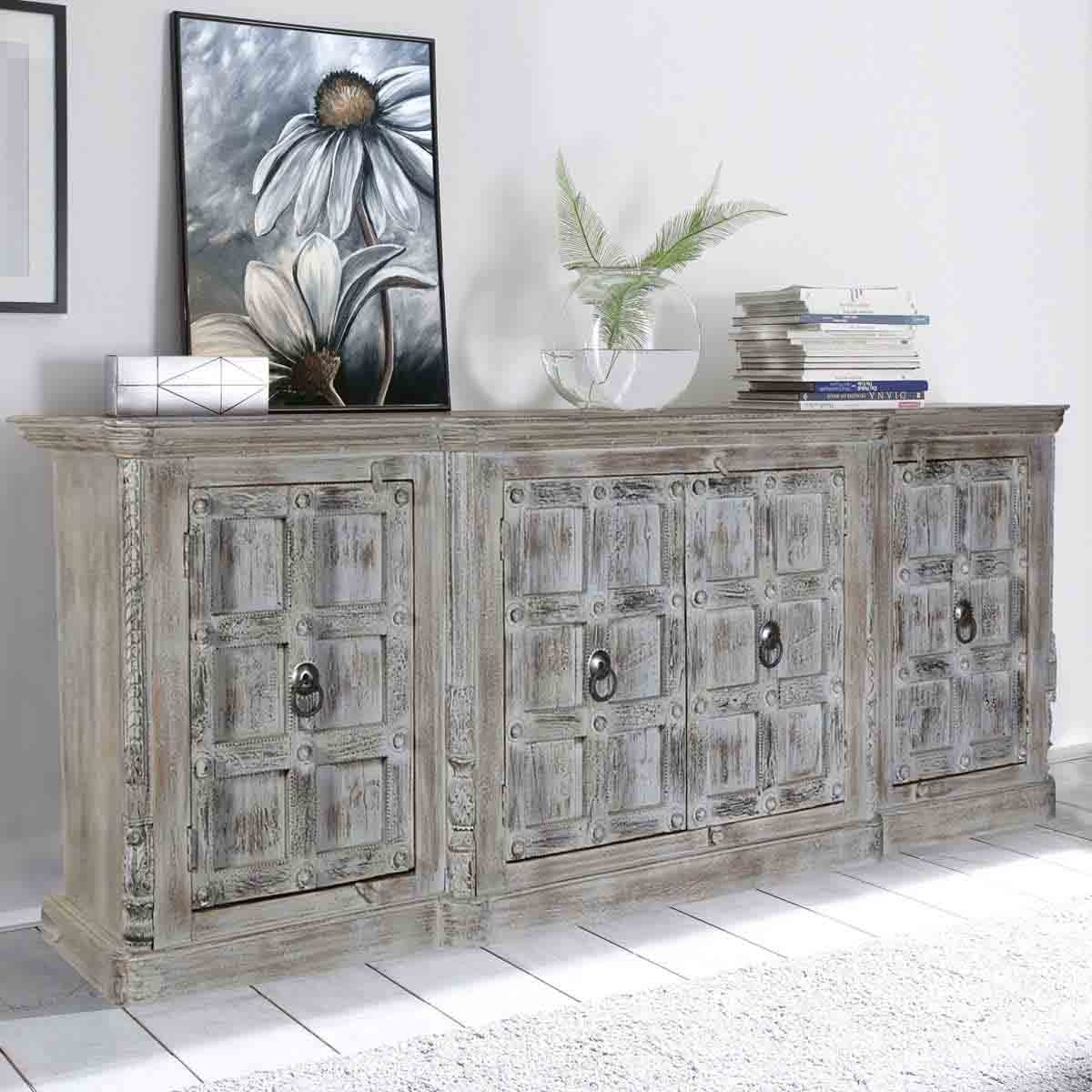 Inspiration about Palazzo Distressed Handcrafted 4 Door Large Rustic Buffet Cabinet Pertaining To Current Carved 4 Door Metal Frame Sideboards (#14 of 20)