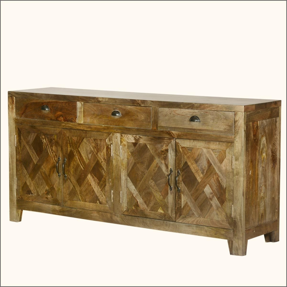 Parquet Farmhouse Mango Wood Rustic Sideboard Buffet Cabinet With Regard To Recent Parquet Sideboards (#13 of 20)