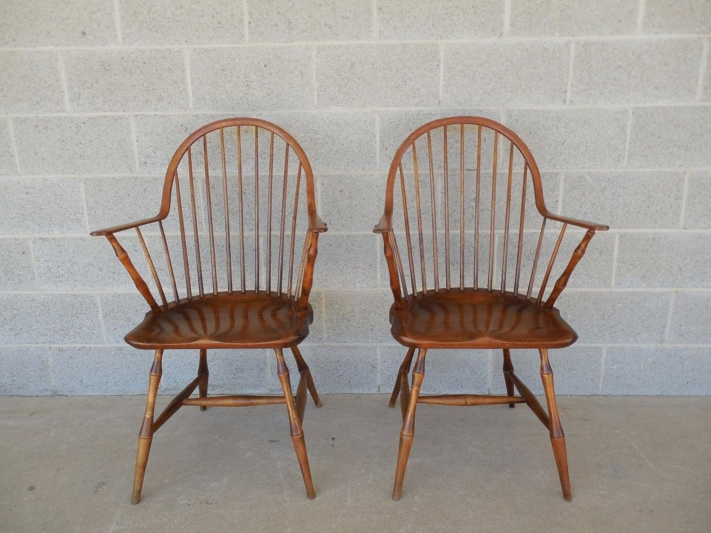 Partridge Side Chairs Throughout Newest L E Partridge Windsor Style Hoop Back Faux Bamboo Leg Arm Chairs (#12 of 20)