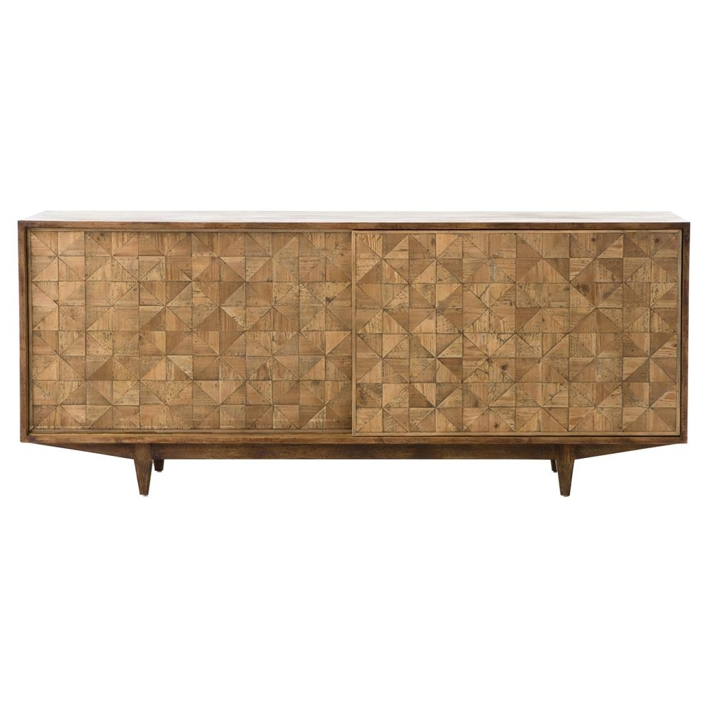 Peggy Mid Century Golden Brown Parquet Retro Wooden Sideboard Intended For Newest Parquet Sideboards (#16 of 20)