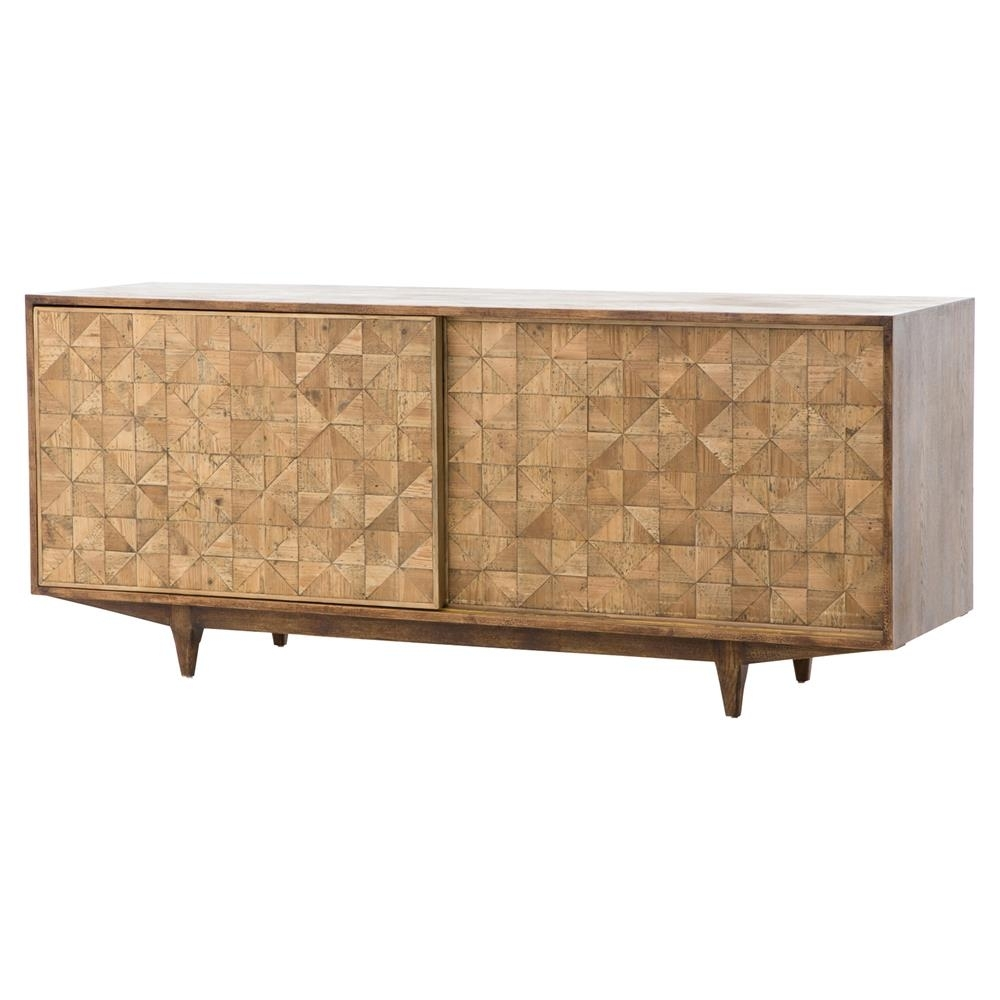Inspiration about Peggy Mid Century Golden Brown Parquet Retro Wooden Sideboard Intended For Recent Parquet Sideboards (#11 of 20)