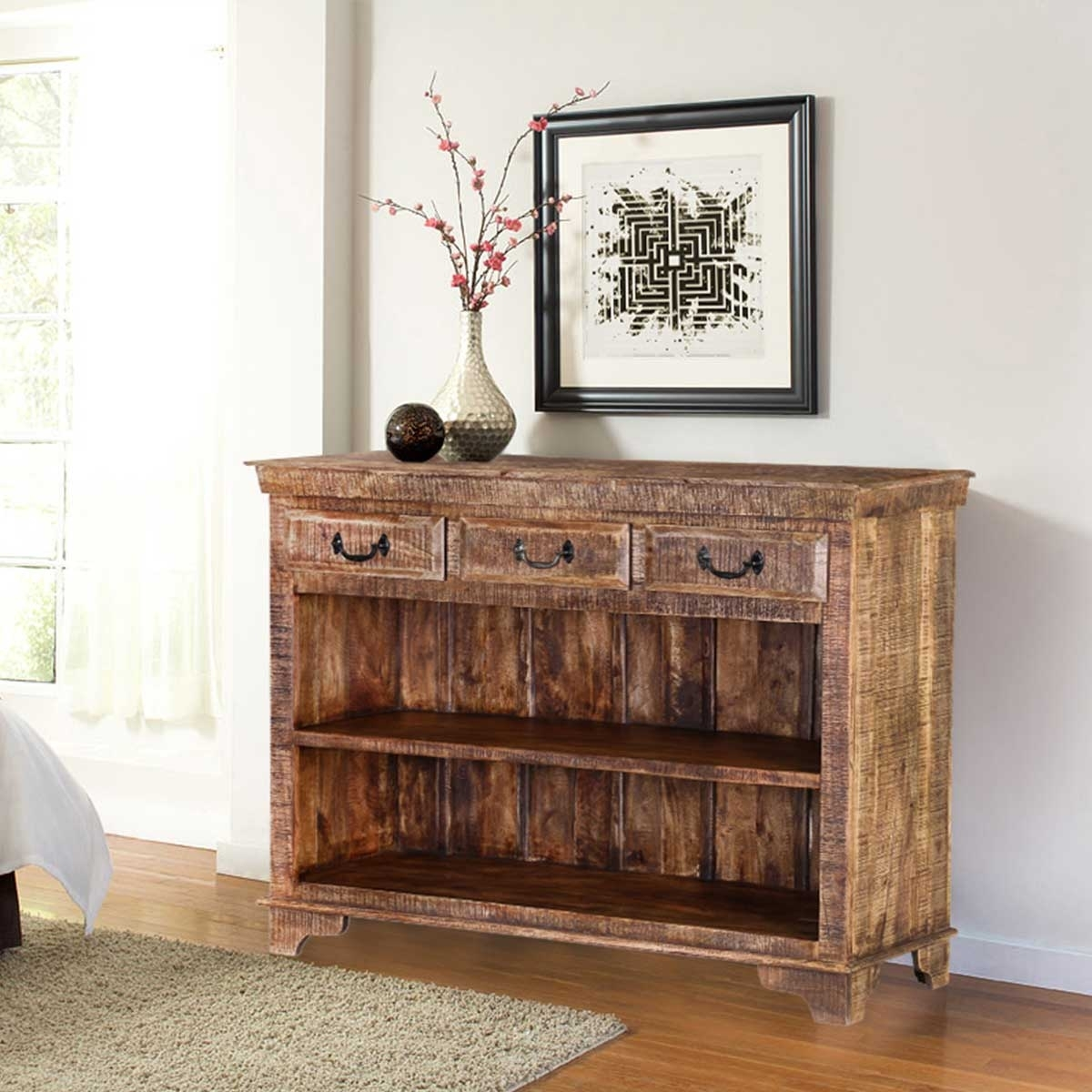 Inspiration about Phoenix Natural Finish Rustic Mango Wood Display Sideboard W 3 Drawers Within 2017 Natural Mango Wood Finish Sideboards (#9 of 20)