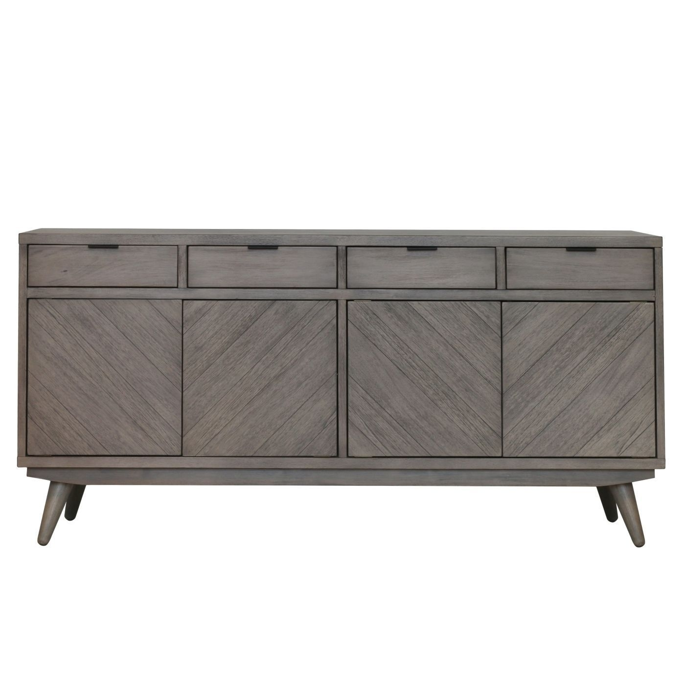 Inspiration about Piero Chevron Buffet 4 Drawers + 4 Doors, Weathered Gray | Products Inside Most Recently Released Brown Chevron 4 Door Sideboards (#1 of 20)