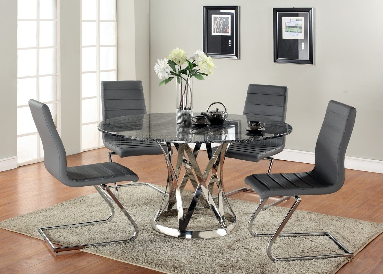 Pilo Grey Side Chairs In Most Current Janet Dining Table 5Pc Set Marble Top & Metal Basechintaly (#9 of 20)