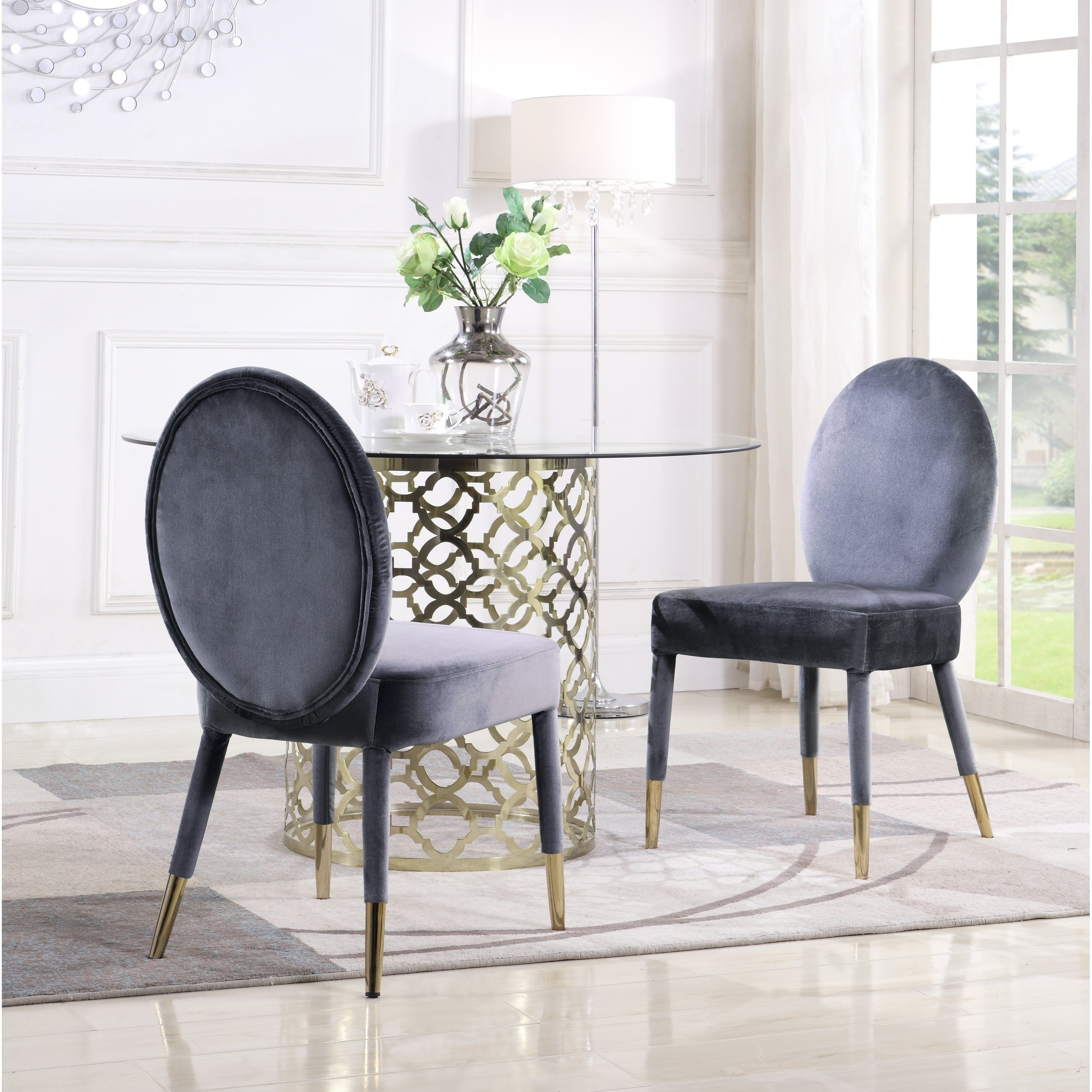 Pilo Grey Side Chairs Intended For Popular Shop Chic Home Jerett Velvet Dining Chair Oval Back, Set Of 2 – On (#11 of 20)