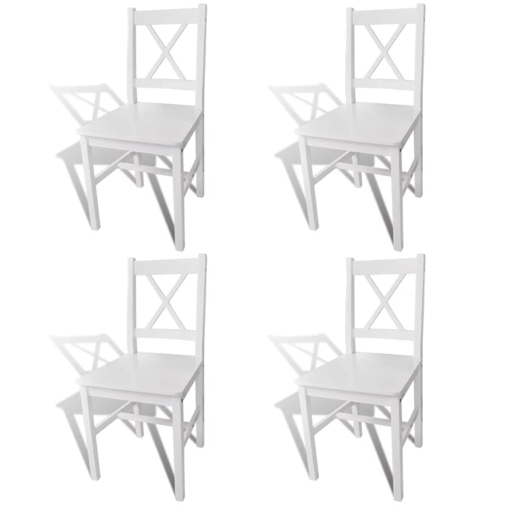Inspiration about Pine Wood White Dining Chairs In Preferred Vidaxl Solid Pine Wood Set Of 4 Dining Chairs Kitchen Dining Room (#12 of 20)