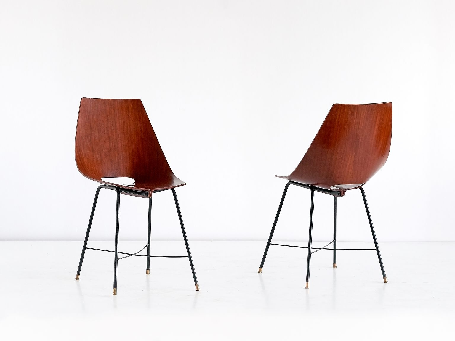 Plywood & Metal Brown Dining Chairs Intended For Newest Italian 127 B Plywood Dining Chairs From Societá Compensati Curvati (#12 of 20)