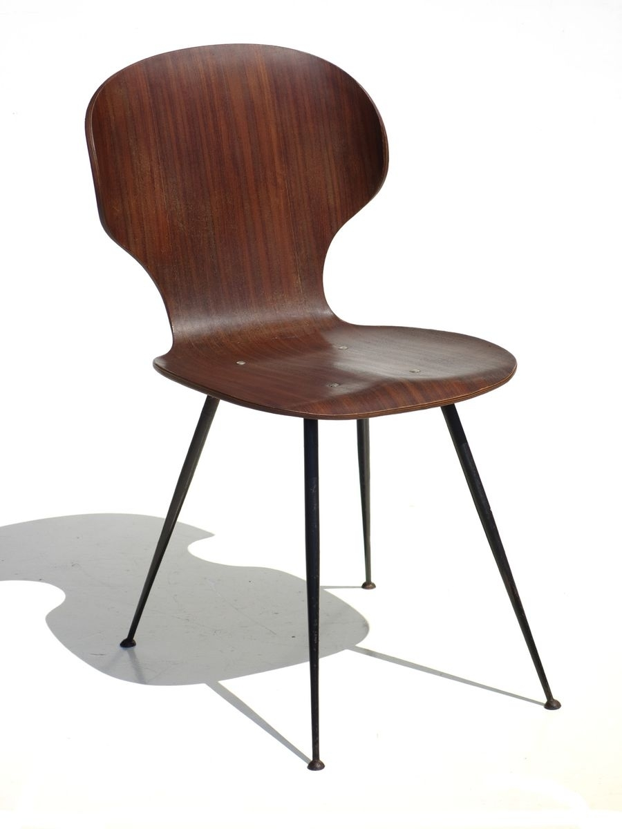 Plywood & Metal Brown Dining Chairs Regarding Most Popular Mid Century Plywood & Metal Dining Chairscarlo Ratti For Lissoni (#14 of 20)