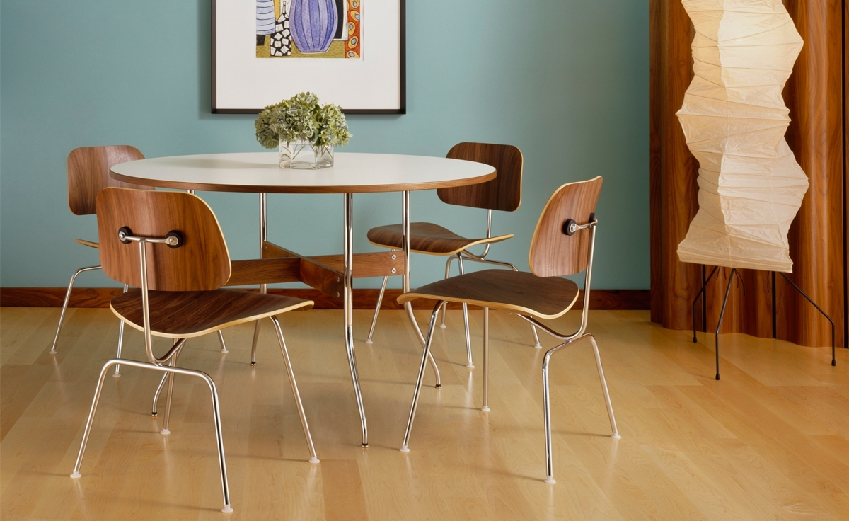 Plywood & Metal Brown Dining Chairs Within Most Recently Released Eames® Molded Plywood Dining Chair Dcm – Hivemodern (#16 of 20)
