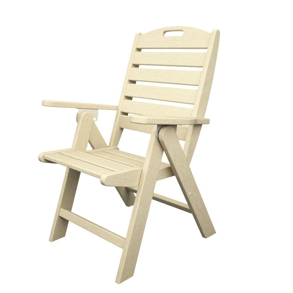 Polywood Nautical Highback Sand Plastic Outdoor Patio Dining Chair Regarding Fashionable Nautical Blue Side Chairs (#18 of 20)
