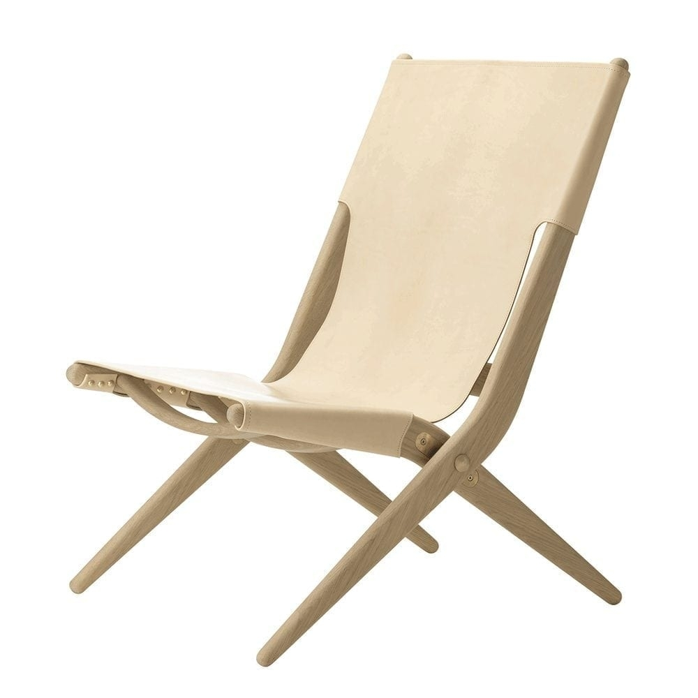 Popular Designerlassen Saxe Folding Occasional Chair – Oak/natural Leather With Regard To Lassen Side Chairs (View 4 of 20)
