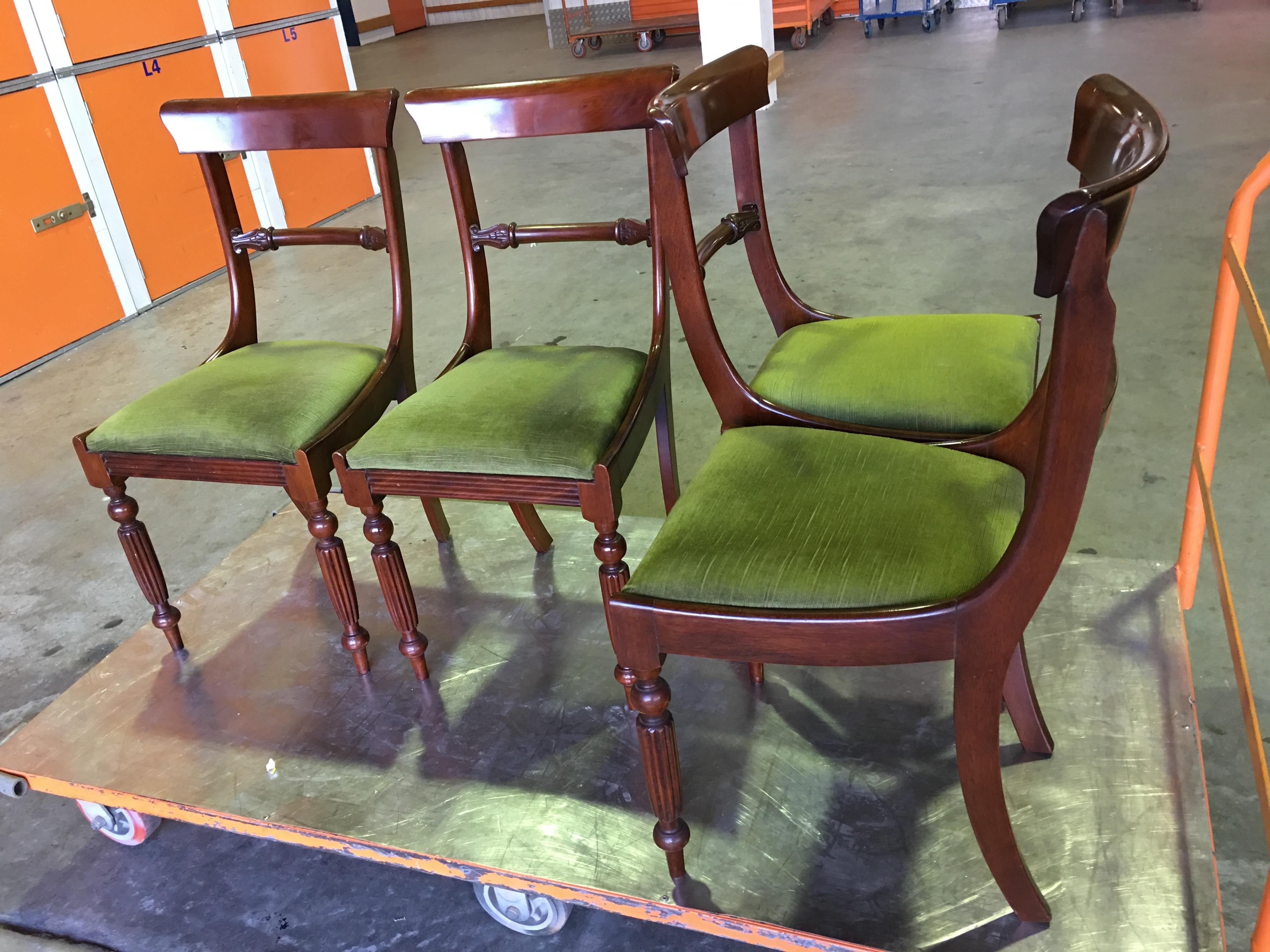 Popular Green Cedar Dining Chairs With Beautiful Set Of 4 Antique 19Th Century English Cedar Rail Back (#17 of 20)
